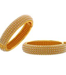 Buy silver alloy base metal with pearls and stones bangles bangles-and-bracelet online