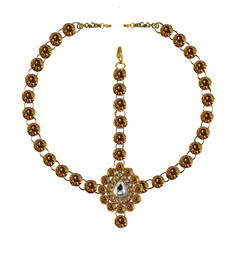 Buy Brass gold platted  Golden stone studded  Maang tikka set maang-tikka online