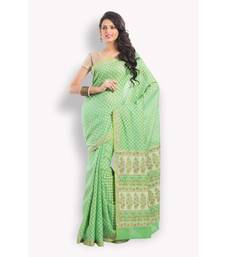 Buy Green woven cotton saree with blouse banarasi-silk-saree online