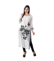 Buy White Embroidered Georgette Kurti kurtas-and-kurti online
