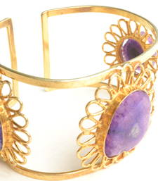 Buy Semi Precious Purple Hand Cuff and free surprise gift gemstone-bracelet online