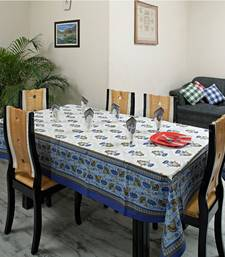 Buy Tulip design Table cover set in Sky Blue and White Gold prints table-cloth online
