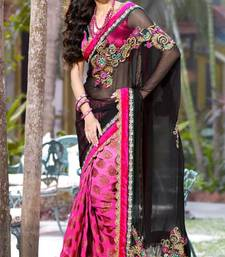 Buy Party Wear Black and Pink Faux georgette and Viscos Saree with Blouse  georgette-saree online
