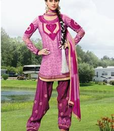 Buy Pink embroidered cotton unstitched salwar with dupatta patiala-salwar online