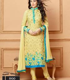 Buy Yellow embroidered chiffon semi stitched salwar with dupatta collar-neck-design online
