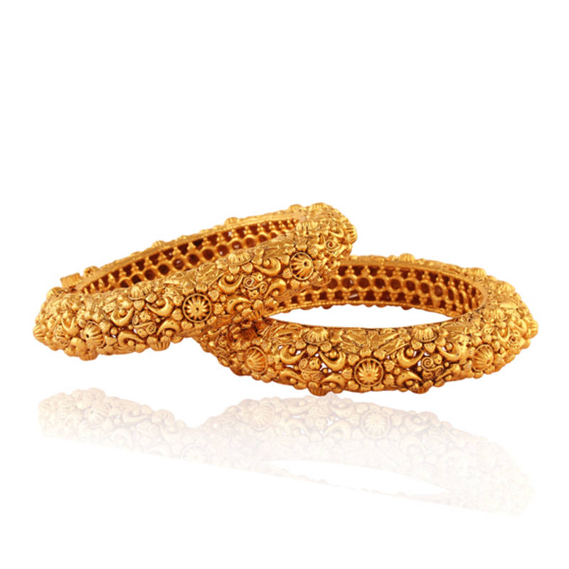 Buy Fab Gold Plated Antique Bangle Online