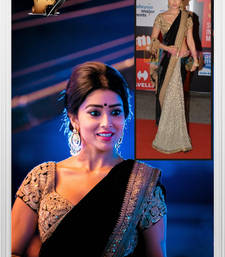 Buy beige and black embroidered velvet sare with blouse bollywood-saree online