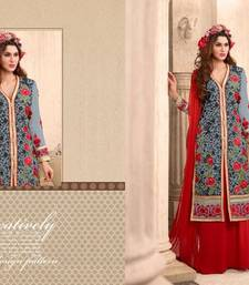Buy Grey embroidered georgette semi stitched salwar with dupatta pakistani-salwar-kameez online