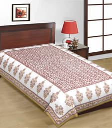 Buy White and Maroon Color Designer Print Pure Cotton Single Bedsheet bed-sheet online