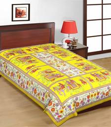 Buy Jaipuri Yellow Color Traditional Horse Design Cotton Single Bedsheet bed-sheet online