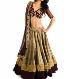 Buy Beige and Brown Bangalori Silk Lehenga With Velvet Blouse bollywood-lehenga online