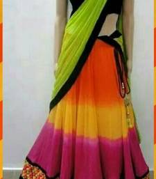 Buy Green, Orange, Yellow Pink and Black Georgette Lehenga With Velvet Blouse bollywood-lehenga online