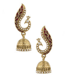 Buy Peacock Inspired Pair Of Jhumki Earrings With Red Enamel danglers-drop online