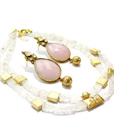 Buy White Agate Necklace & Earring necklace-set online