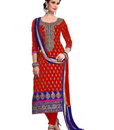 Buy Styles Closet Red embroidered chanderi semi stitched salwar with dupatta pakistani-salwar-kameez online