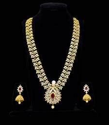 Buy cz ruby traditional design long necklace set necklace-set online