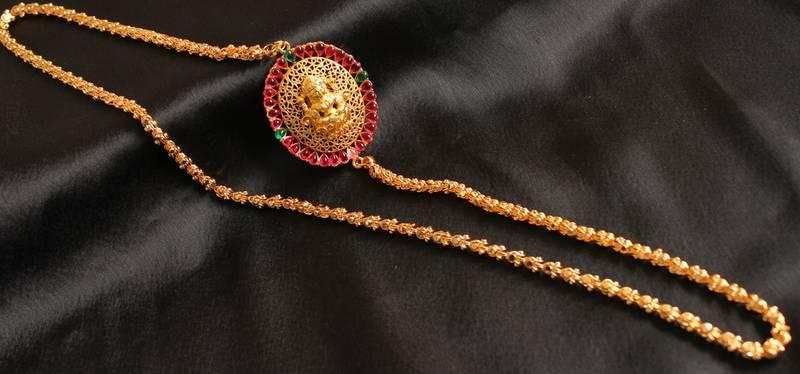 Buy Gorgeous Goldplated Multicolour Lakshmi Mugappu Long