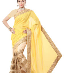 Buy Yellow  and  Beige embroidered georgette saree with blouse party-wear-saree online
