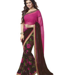 Buy Pink and Coffee printed georgette saree with blouse printed-saree online