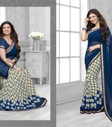 Buy White and Blue printed georgette saree with blouse printed-saree online
