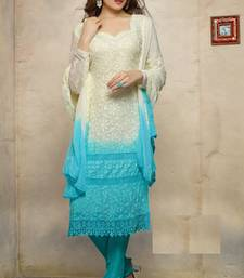 Buy White embroidered Georgette semi stitched salwar with dupatta party-wear-salwar-kameez online