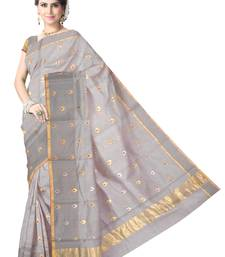 Buy Grey Handwoven Silk Cotton Chanderi Saree with Blouse chanderi-saree online