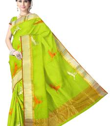 Buy Green Handwoven Silk Cotton Chanderi Saree with Blouse chanderi-saree online