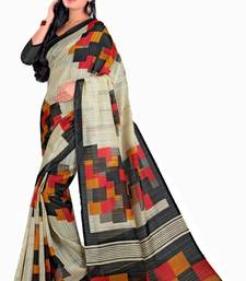 Buy Cream and  Black and  multicolor printed art silk saree with blouse other-actress-saree online