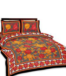 Buy Multi-Color Floral Printed Double Bedsheet n Pillow Covers 193 bed-sheet online