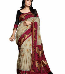 Buy Beige  and  Red printed cotton saree with blouse bhagalpuri-silk-saree online