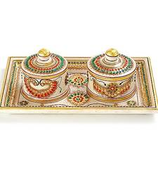 Buy Marvel In Marble -Tray With Containers-044 diwali-corporate-gift online