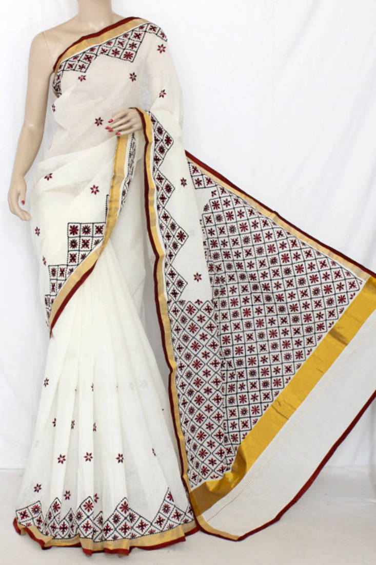 Buy Off White Embroidered Cotton Saree With Blouse Online
