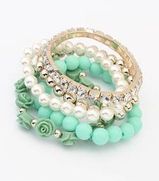 Buy Green Color Pearl Rose Flower Bracelet Bracelet online