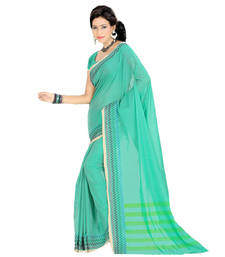 Buy Green hand_woven cotton saree with blouse cotton-saree online