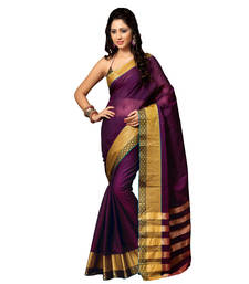 Buy Purple hand_woven cotton saree with blouse cotton-saree online