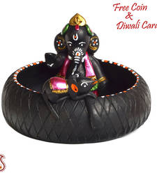 Buy Aapno Rajasthan Black & Pink Terracotta Ganesh Showpiece with Black Finish birthday-gift online