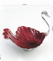 Festive Red enamel Swan in Silver plated Brass Tray shop online