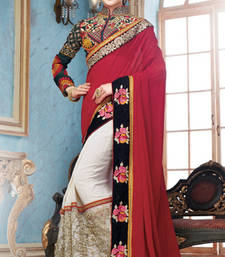 Buy Maroon  and  Cream embroidered georgette saree with blouse party-wear-saree online