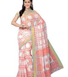 Buy Multi Color Cotton Blend Printed Saree with Blouse cotton-saree online