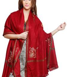 Buy Red Pure wool shawl with border and embroidered sunflower  shawl online