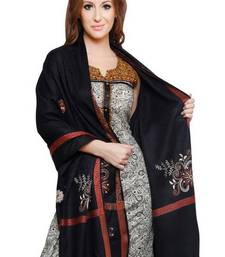 Buy Black Pure wool Shawl with stripe  border and tassels shawl online