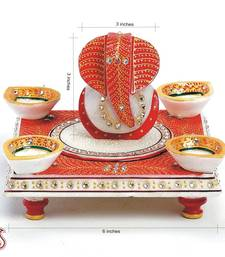 Buy Diyas and Ganeshji seated on a Chowki with Kundans in marble other-home-accessory online