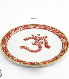 Buy Om Aarti Thali in pure White Marble with Kundan work decorative-plate online