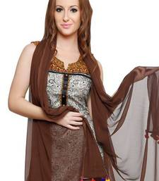 Buy Brown Georgette Duppata with Multicolor Pom Pom Border stole-and-dupatta online