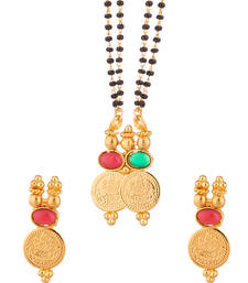 Buy Yellow Gold Tone Mangalsutra Set Studded With Red mangalsutra online