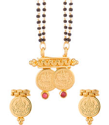 Buy Double Chain Mangalsutra Set With Yellow Gold Tone mangalsutra online