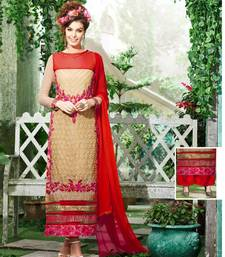 Buy  Buy Exclusive Latest Heavy Designer Beige And Red Straight Suits salwars-and-churidar online