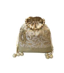 Buy Brocade Batwa with Paisley Motif (Gold) potli-bag online