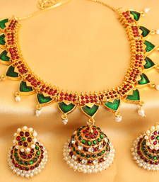 Buy Beautiful antique traditional  kemp palakka neckalace set necklace-set online