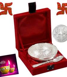 Buy Designer Silver plated Bowl With Wooden Swastik diwali-silver-gift online
